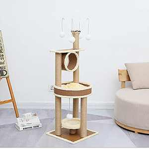 Pets4Luv Multi Level Cat Tree Cat Scratching Post Scratcher Activity Centre 4.6 inch Large Cat Climbing Tower Large Cat Condo Furniture with Padded Plush Perch for Indoor Cats Play and Rest