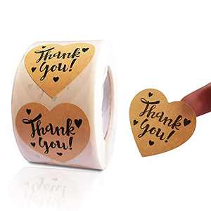 Thank You Heart Stickers Roll, 1.5 inch Thank You Stickers Brown Kraft Paper, 500p/Roll, Small Business, Party Decorative Sealing Labels Stickers(Heart Thank You Stickers 500Pcs/Roll)