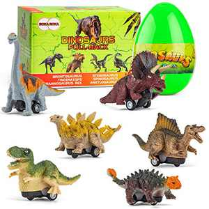 BOKABOKA 6 PCS Jumbo Dinosaur Toy,Dinosaur Pull Back Cars in Easter Egg for 2 3 4 5 6 7 8 Year Old Kids Boys Gril Toddlers,Realistic Looking Dinosaur for Party Favors Dinosaur lovers (Classic Edition)