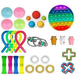 HANGYUAN Fidget Sensory Toys Pack, Fidget Toys Packs with Simple or Dimple Pop Bubble Squeeze Ball Bean Bundle for Kids and Adults (25Pcs-Bundle)
