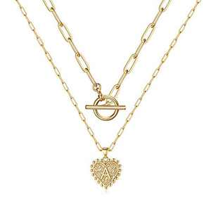 Turandoss Gold Layered Initial Necklaces for Women, 14K Gold Plated Layering Paperclip Link Choker Necklace Personalized Heart Initial Pendant A Gold Necklaces for Women Jewelry Gifts