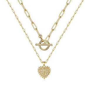 Turandoss Layered Gold Initial Necklaces for Women, 14K Gold Plated Dainty Layering Paperclip Link Chain Necklace Personalized Heart Pendant T Initial Necklaces for Women