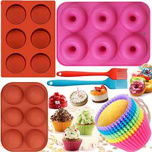 Silicone 15Pcs Baking Pan Set Molds 10 Baking Cupcake Molds Donut Pan Mold Round Cylinder and Sphere Cake Molds with 2 Oil Pastry Brush for Homemade Kitchen Cakes Mousse Candy Biscuit (Donut+Cylinder)