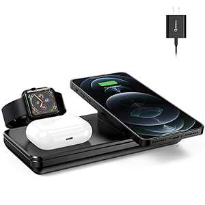 Wireless Charging Station for Apple Products, 18W Fast Wireless Charger for iPhone 12/11/XR/XS Max/Xs/X/8, AirPods Pro, Charging Stand for Apple Watch 6/5/4/3/2/1 (Latest Chip & Include QC3.0 Adapter)