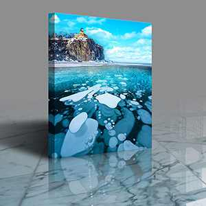 Canvas Wall Art, Wall Art, Blue Glacier Landscape Canvas Wall Art for Living Room Bedroom,Framed Canvas Wall Art Easy to Hang, Canvas Wall Art for Wall Decorations (Type C) Size 12x16 inches Wall Art