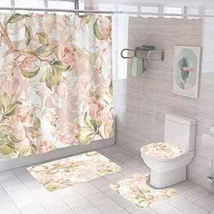 Flower Shower Curtain Sets, Non-Slip Bathroom Rug Set Include Shower Curtain, Rectangle Mat, U Shape Mat and Toilet Lid Cover Mat,Bathroom Decor Set (Gold)