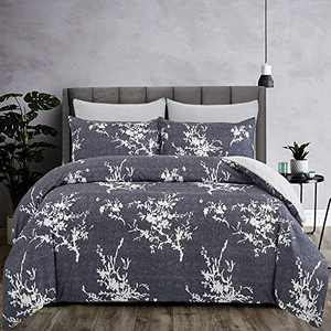 oentyo 3 Pieces Floral Duvet Cover King Size Sets,Soft Microfiber Navy White Branch Plum Blossom Flower Pattern Printed Bedding Set with Zipper Corner Ties,1 Duvet Cover 2 Pillowcase (Navy,King)
