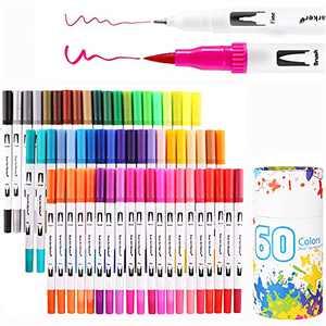 Inoranges Art Markers Dual Tips Coloring Brush Fineliner Color Pens, 60 Artist Coloring Marker, Fine & Brush Tip Pen Art Supplier