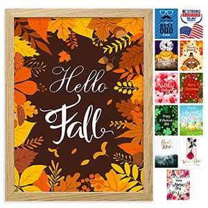 Farmhouse Wall Decor Sign with 12 Interchangeable Pictures for Fall Decor & Halloween Home Decorations - Easy To Hang 13x17'' Wooden Picture Frame with 12 Design Prints - Exquisite Summer Fall Winter Decor for Your Home