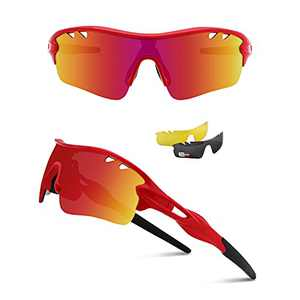 Ukoly Polarized Sports Sunglasses with 3 Interchangeable Lenses, Cycling Glasses Mens Womens, Baseball Fishing Sunglasses