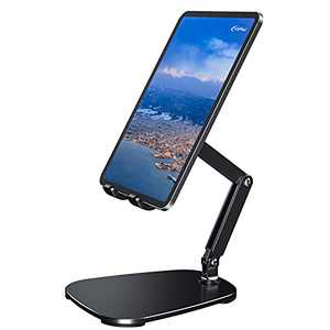 Tablet Stand, Adjustable Ipad Stand, Portable Desktop Tablet Holder Foldable Cradle Dock Compatible with Phones, iPad, Samsung Galaxy Tabs, Kindle(13in Max), Black