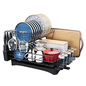 Dish Drying Rack,HOWDIA Dish Drainers with Utensil Holder,Cup Holder,Cutting Board Holder for Kitchen Counter (Black)