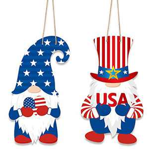 Jetec 2 Pieces Patriotic Decoration Independence Day Door Sign Gnome Hanging Welcome Wood Sign 4th of July Gnomes Hanging Welcome Wall Decor for Independence Day Party Decoration, 13.8 Inches