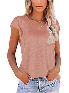 OWIN V Neck T Shirts for Women Loose Fit Soft Tops Basic Side Split Casual Summer Tees Coral Pink M