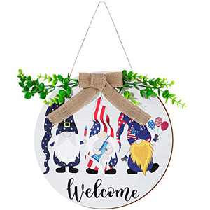 Quzzil 4th of July Welcome Wooden Sign Patriotic Gnome Door Sign Round Independence Day Hanging Sign Front Door Home Decor for Veterans Day Patriotic Party Supply Decoration