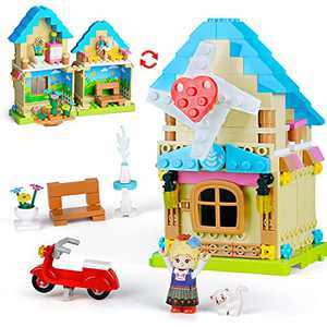 VERTOY Gifts for 6 7 8 9 10+ Year Old Girls - STEM Construction Building Toys for Girls Age 6-12, Windmill House Building Blocks Sets for Kids Birthday and Educational Activity