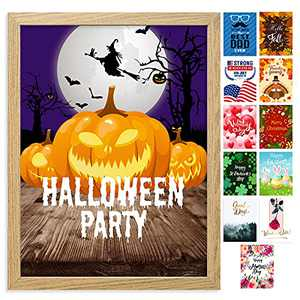 Farmhouse Wall Decor Sign With 12 Interchangeable Pictures for Halloween Decorations - Easy To Hang 13x17'' Wooden Picture Frame with 12 Design Prints - Exquisite Fall Winter Decor for Your Home
