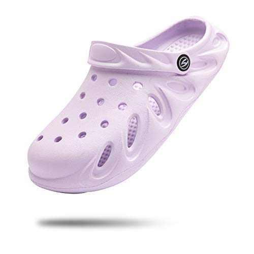 Women Garden Clogs Slip on Water Shoes Comfortable Sandals Slippers Purple 6 Women/4.5 Men