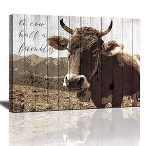 Cow Pictures Wall Decor Canvas Wall Art Rustic Wall Decor for The Home Bedroom Kitchen Bathroom Office Wall Art Ready to Hang