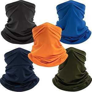 Neck Gaiter Face Mask Mens Womens Balaclavas,Uv Face Shield Cloth Face Cover Scarf,Bandanas Multipurpose Headwear 5 Pack Solid Color