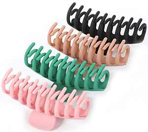 Big Hair Claw Clips,4.3 Inch Nonslip Hair Holder for Women and Girls Thin Hair, Strong Hold Hair Clips for Thick Long Hair,(Pink, Black, Green,Khaki)