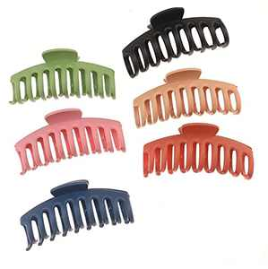 Hair Clips for Women, 4.3 Inch Non Slip Hair Clip, Big Claw Hair Clips for Girls Thick and Thin Hair, Strong Hold Banana Large Hair Clips Colorful - 6 Pack