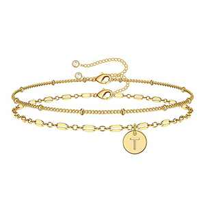 Anoup Gold Bracelets for Women Girls, 14K Gold Plated Dainty Layered Bracelets T Initial Bracelets Personalized Disc Gold Bracelet for Girls Coin Bracelets for Women Kids Teen Girls