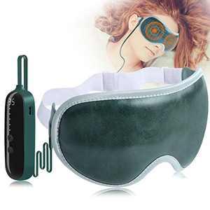 Heated Eye Mask, Eye Massager with 5 Vibration Mode, Adjustable Temp, Wireless Eye Massager Rechargeable , Sleep Eye Mask Improve Sleep by Massageing Eye Comfortable for Relieve Tired Eye (Green)