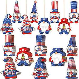 Qunclay 24 Pieces Patriotic Gnome Wood Ornaments 4th of July Independence Day Gnome Wooden Pendant Leprechaun Gnome Ornament Decoration for Independence Day Home Decoration