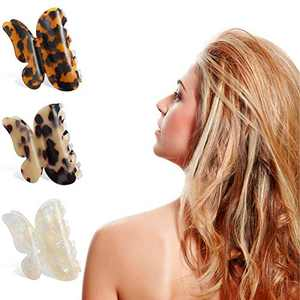 Butterfly Hair Clips for Women Girls Bow Tortoise Shell Claw Hair Clips Medium Non Slip Clips Hair Accessories Cellulose Acetate Hair Claws(3 Pcs, Color A)