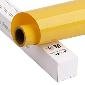 """HTV Iron on Vinyl Heat Transfer Vinyl Easy to Cut and Easy to Weed, 12""""x10' roll, Works with Silhouette (Yellow)"""