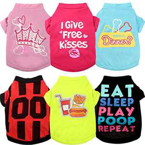 6 Pieces Printed Puppy Dog Shirts Soft Puppy Sweatshirt Breathable Pet Shirts Daily Puppy Clothing for Dogs and Cats (Small)