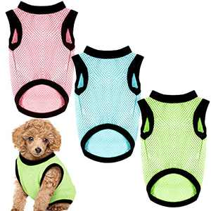3 Pieces Dog Shirts Breathable Solid Color Mesh Vest Dog T-Shirt Apparel Sleeveless Plain Dog Clothes Puppy Wearring for Small Medium Pets Cats Summer(L)