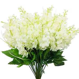 CORVYUC 6pcs Artificial Silk Flowers Fake Hyacinth Floral Plants Arrangements Outdoor Indoor Home Garden Hotel Wedding (White)