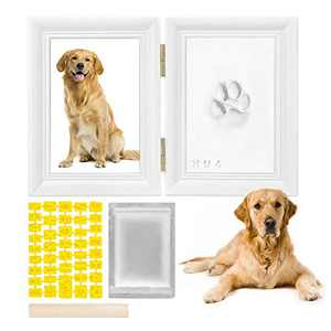 SlowTon Pet Pawprint Keepsake Kit, Picture Frame with Clay Imprint Kit, Personalized Gift for Dogs Pet Lovers