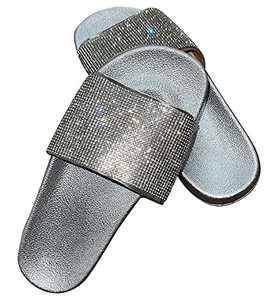 Glitter Slides Clear Rhinestone Flat Sandals For Women 2021 Dressy Summer With Arch Support And Comfort Soft Sole Sliver Size 10