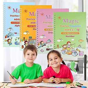 Magic Practice Copybook for Kids Reusable - Magic Calligraphy Tracing Handwriting Workbook Set/Writing Practice Book for Preschoolers & Kindergarten Children (4 Books & Pen)