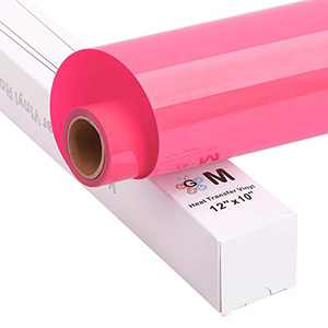 """HTV Iron on Vinyl Heat Transfer Vinyl Easy to Cut and Easy to Weed, 12""""x10' roll, Works with Silhouette (Pink)"""