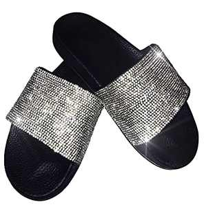 Glitter Slides Clear Rhinestone Flat Sandals For Women 2021 Dressy Summer With Arch Support And Comfort Soft Sole Black Size 9