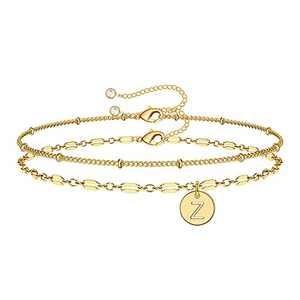 Anoup Gold Bracelets for Women Girls, 14K Gold Plated Dainty Layered Bracelets Z Initial Bracelets Personalized Disc Gold Bracelet for Girls Coin Bracelets for Women Kids Teen Girls