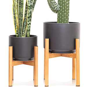 Set 2 Indoor Mid Century Modern Ceramic Planter with Wood Stand Outdoor About 8 Inch & 10 Inch Diameter, Round Standing Planters with Drainage and a Plug, Outdoor Garden Cactus Planters- Black