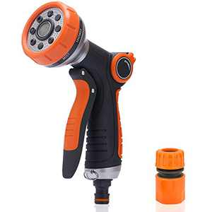 Garden Hose Nozzle Hose Sprayer,Hose Nozzle Heavy Duty Water Hose Nozzle with 8 Adjustable Spray Patterns and QuickConnect,Watering Lawns and Garden, Cleaning & Car Washing
