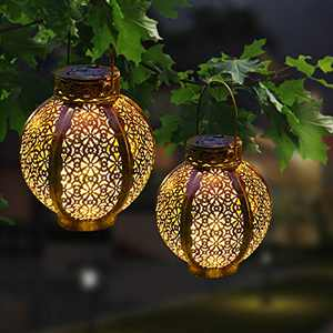 Solar Lanterns Outdoor Waterproof, Hanging Solar Lights Retro Metal LED Decorative Light with Handle, Solar Lanterns Outdoor for Garden Patio Yard Courtyard Lawn and Tabletop (2 Pack), Bronze ,MIAGI