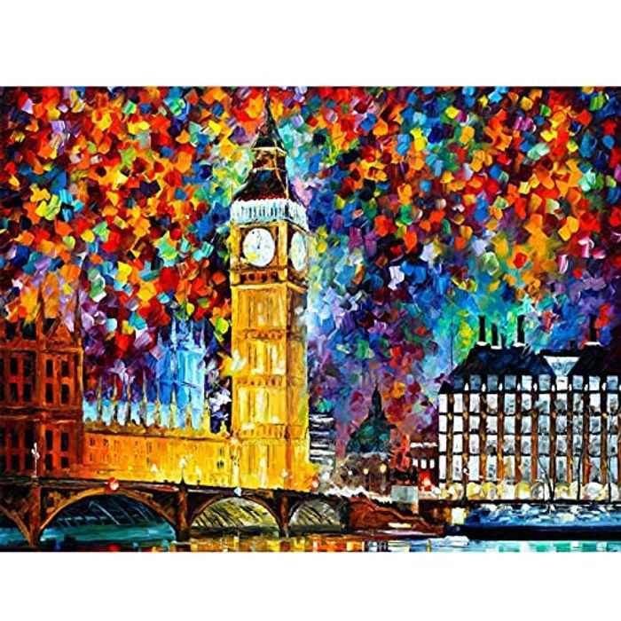 Nalife DIY 5D Diamond Painting Kits, London Painting, Beautiful Diamond Embroidery Art for Children, Adults, Full Drill Rhinestone Crystal Cross on Home Wall Decor Gift