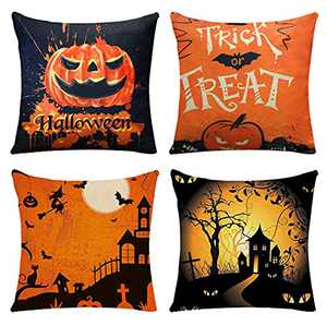 Lasutho Halloween Pillow Covers 18×18 Inch Set of 4 Trick or Treat Pillow Covers Halloween Cotton Linen Holiday Rustic Linen Pillow Case for Sofa Couch Halloween Decorations (Halloween1)