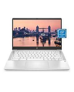 "HP Chromebook 14 Laptop, Intel Celeron N4000 Processor, 4 GB RAM, 32 GB eMMC, 14"" HD Display, Chrome, Lightweight Computer with Webcam and Dual Mics, Home, School, Music, Movies (14a-na0021nr, 2021)"
