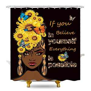 KOMLLEX African American Women Sunflower Shower Curtain 60Wx72H Inch for Bathroom Rustic Butterfly Motivational Inspirational Quotes for Black Girls Lady Saying Bath Home Decor Polyester 12 Pack Hooks