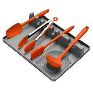 Silicone Spoon Rest Utensil Holder 2 In 1 Large Size Spatula Holder for BBQ Utensils Kitchen Counter Spoon Holder with Drip Pad 5 Slot Utensil Rest and 1 Spoon Holder Hang Hole Design (Grey)