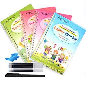 Upgraded Large Size 4pcs English Magic Practice Copybook for Kids, Reusable Handwriting Workbook for Preschoolers Number Alphabet Drawing Math Tracing Book Writing Paste Board with Pens (8.35'')