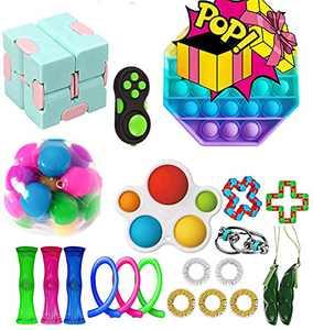 HANGYUAN Fidget Sensory Toys Pack, Fidget Toys Packs with Simple or Dimple Pop Bubble Squeeze Ball Bean Bundle for Kids and Adults (21Pcs-Bundle)